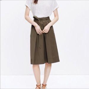 Madewell Olive Green Midi Skirt Size Large